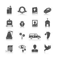 Set di icone funebri vettore