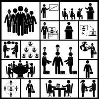 Icone della riunione impostate in nero vettore