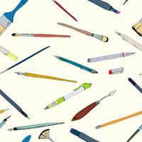 Schizzo di doodle di strumenti di disegno senza giunte vettore
