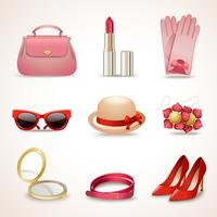 Set di icone di accessori donna