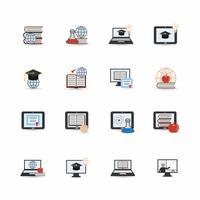 Icona di educazione online piatta