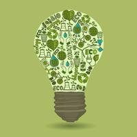 Lampadina con ecologia di schizzo e icone di rifiuti