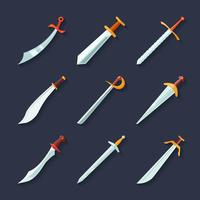 Icona della spada piatta vettore