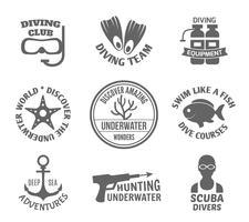 Set di etichette subacquee
