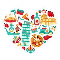 Cuore delle icone dell'Italia
