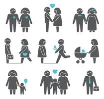 Set di icone di uomini e donne vettore