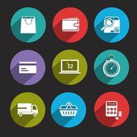 Icone dello shopping online piatte vettore