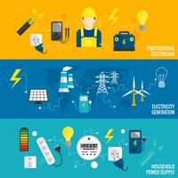 Set di generazione di energia banner linea vettore