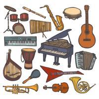 Icona di schizzo di strumenti musicali vettore