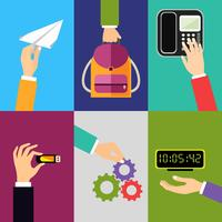 Icone delle mani di affari vettore