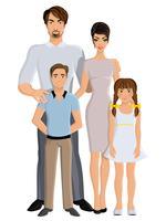 Famiglia felice a figura intera
