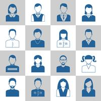 Set di icone monocromatiche di avatar