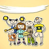 Sport giocando a bambini in cartone
