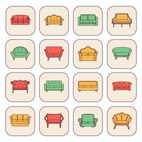 Set di icone del divano vettore