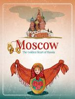 Poster retrò di Mosca vettore