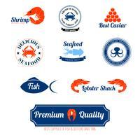 Set di icone di etichette di frutti di mare