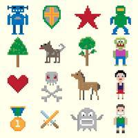 Caratteri pixel di gioco vettore