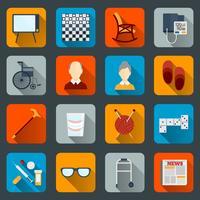 Icone di vita dei pensionati piatte