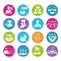 Set di icone di riunione vettore