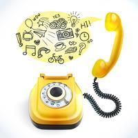 Telefono vecchio doodle vettore