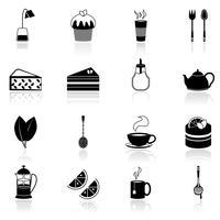 Le icone del tè sono nere vettore