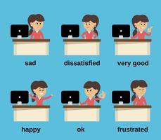 Insieme di emozioni di lavoro della donna di affari