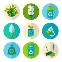 Ecologia e spreco icone piane impostate