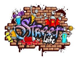 Composizione di caratteri di parola graffiti vettore