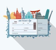Biglietto per i monumenti del mondo vettore