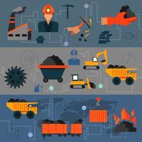 Bandiere di linea di industria del carbone vettore