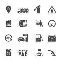 Set di icone pompa carburante vettore