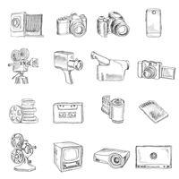 Foto video icone di doodle vettore