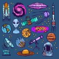 Set di schizzo spaziale colorato vettore