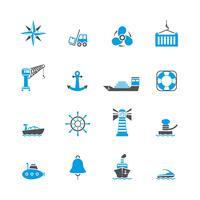 Set di icone di porto marittimo