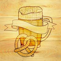 Birra e pretzel sullo sfondo