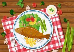 Pesce alla griglia e insalata sul piatto vettore