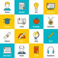 Icone di educazione piatte vettore