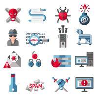 Set di icone di hacker vettore