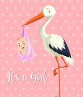 Bambino della cicogna con la neonata su fondo rosa