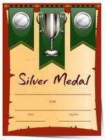 Modello di certificato con medaglia d'argento
