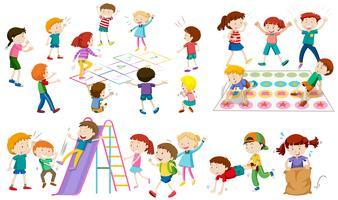 Molti bambini giocano a giochi diversi vettore