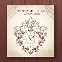 Vecchia carta di orologio da parete vintage vettore