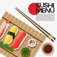 Disegno del menu di sushi sul poster vettore