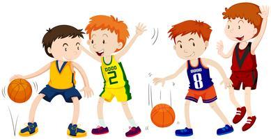 Ragazzi che giocano a basket su sfondo bianco vettore