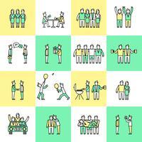 Linea piatta di icone di amici vettore