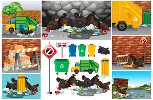 Scene con rifiuti sporchi sulla strada vettore