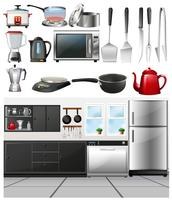 Sala cucina e diversi utensili da cucina