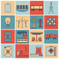 Set di icone linea piatta di energia