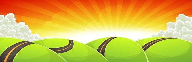 Ampio paesaggio di viaggio dei cartoni animati con la strada e il sole splendente