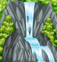 Scena di sfondo con cascata e alberi